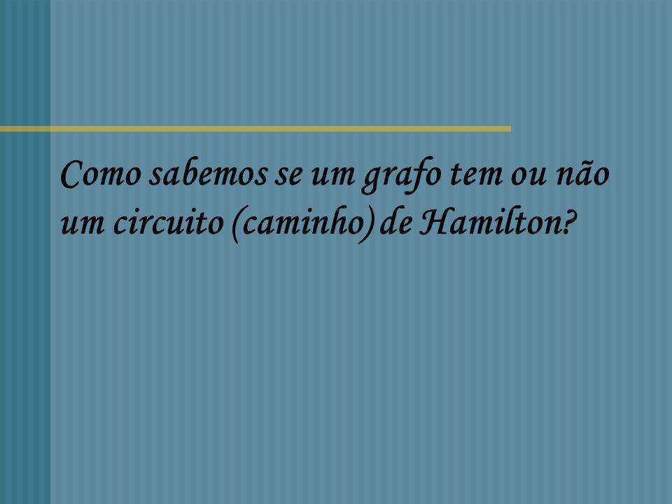 AB C D E circuito de Hamilton circuito de Euler TemNão tem TemNão tem Tem F G