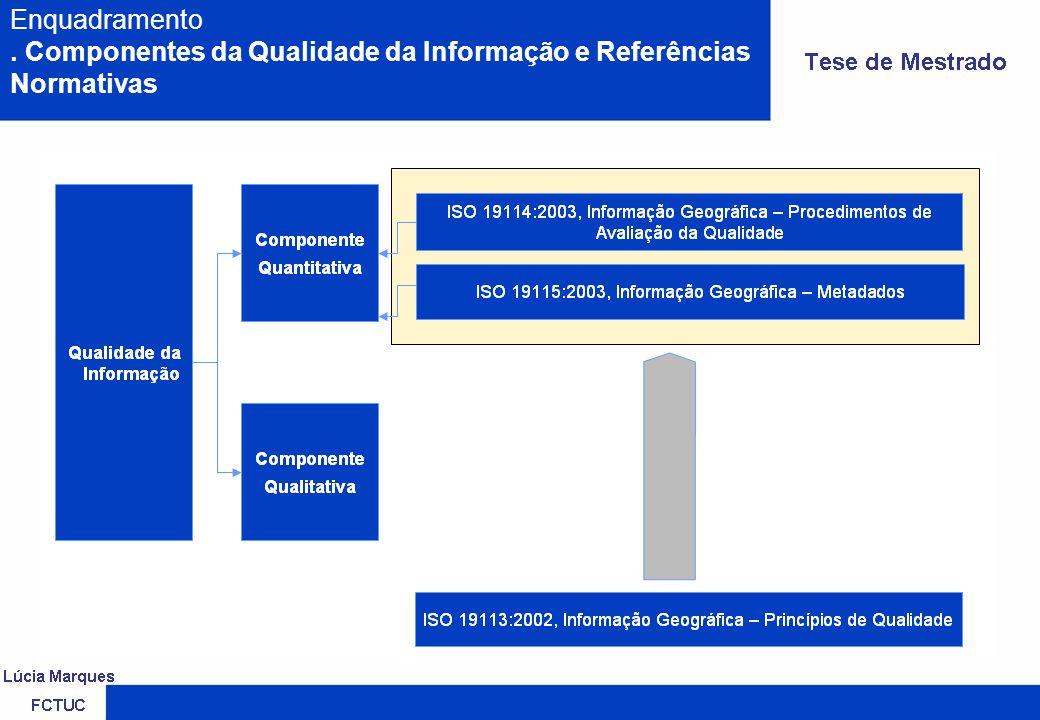 ISO 19113:2002 ISO 19115:2003 Geographic Information – Metadata.