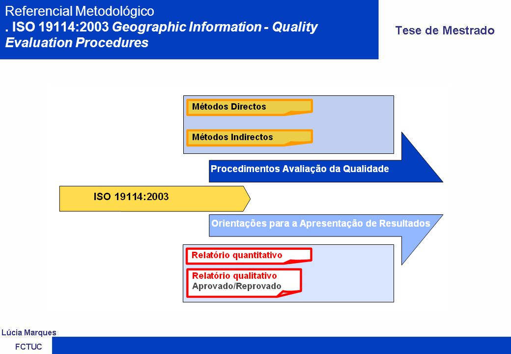 Referencial Metodológico. ISO 19114:2003 Geographic Information - Quality Evaluation Procedures