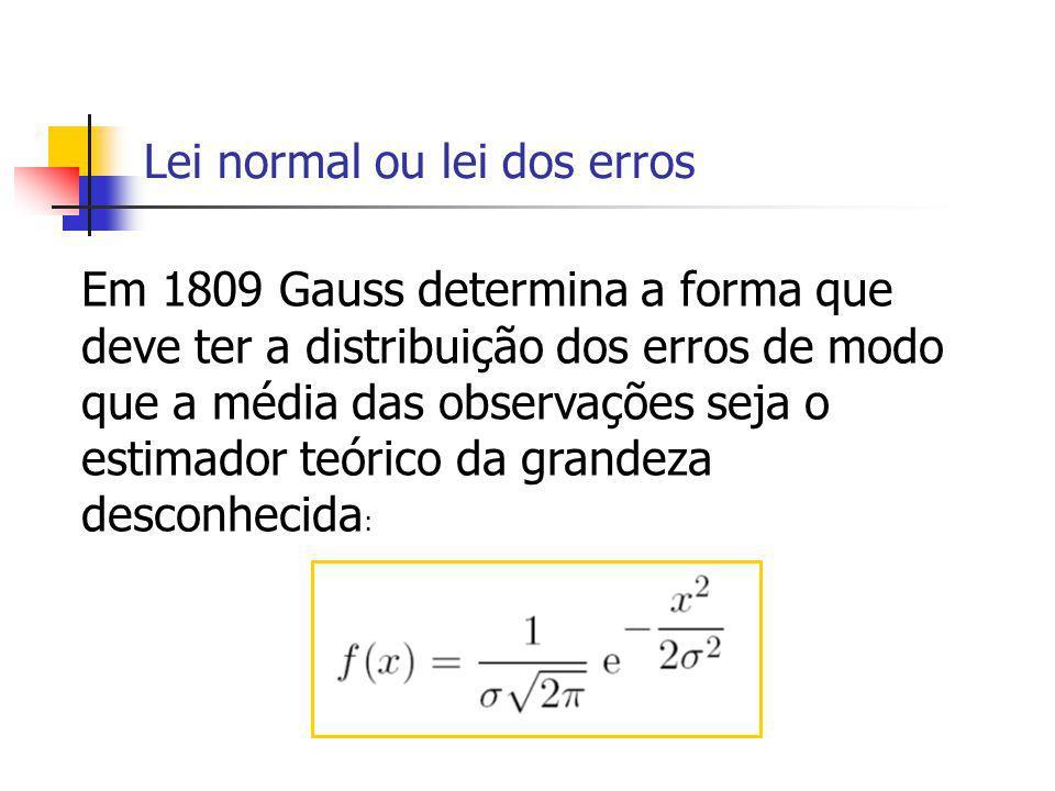 Lei normal ou lei dos erros Em 1809 Gauss determina a forma que deve ter a distribuição dos erros de modo que a média das observações seja o estimador teórico da grandeza desconhecida :