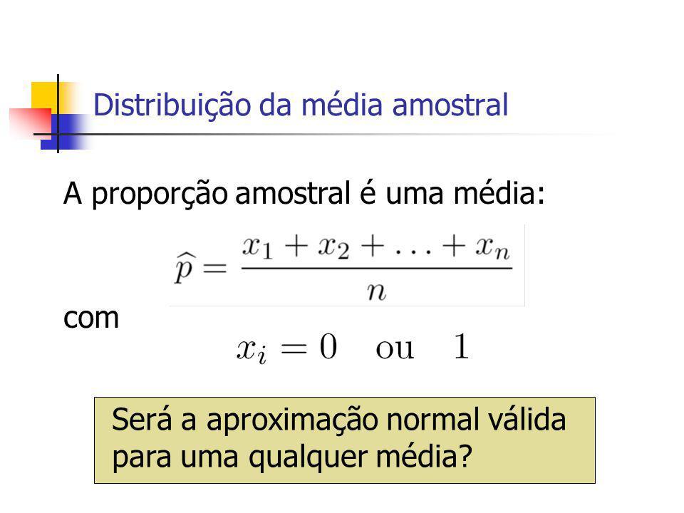 Distribuição da média amostral A proporção amostral é uma média: com Será a aproximação normal válida para uma qualquer média