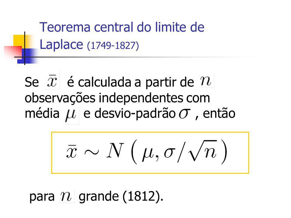 Se é calculada a partir de observações independentes com média e desvio-padrão, então Teorema central do limite de Laplace (1749-1827) para grande (1812).