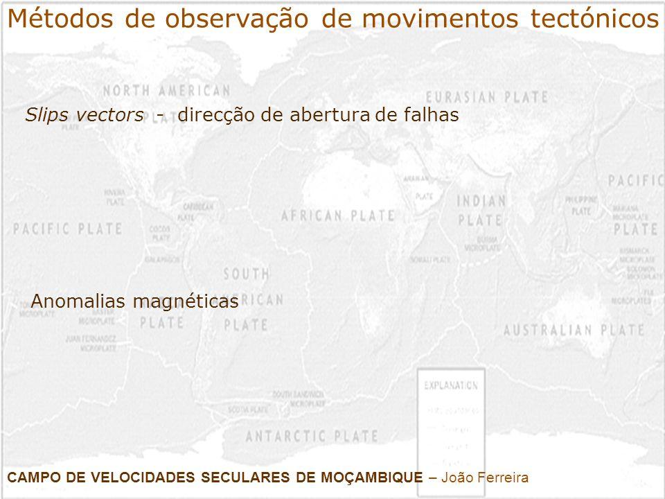 Métodos de observação de movimentos tectónicos Slips vectors - direcção de abertura de falhas CAMPO DE VELOCIDADES SECULARES DE MOÇAMBIQUE – João Ferr