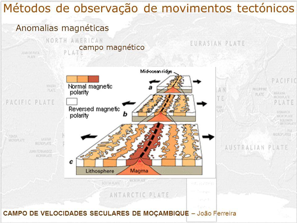 CAMPO DE VELOCIDADES SECULARES DE MOÇAMBIQUE – João Ferreira Campanhas e estações permanentes Métodos de observação de movimentos tectónicos Geodesia - GPS
