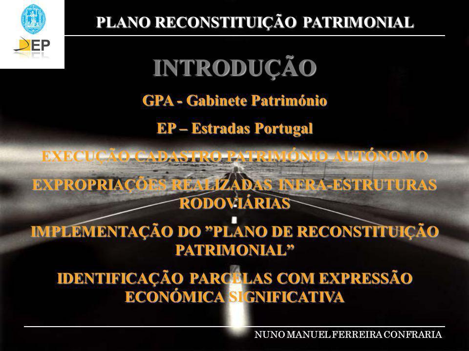 PLANO RECONSTITUIÇÃO PATRIMONIAL NUNO MANUEL FERREIRA CONFRARIA ESTRUTURA PLANO Sistema de Informação Patrimonial e Dominial 1.ORGANIZAÇÃO ARQUIVO FÍSICO DAS EXPROPRIAÇÕES CARREGAMENTO DADOS 2.TRABALHOS CAMPO LEVANTAMENTO E DEMARCAÇÃO CADASTRAL DAS PARCELAS 3.ACTUALIZAÇÃO APLICAÇÃO 4.REGULARIZAÇÃO MATRICIAL E PREDIAL IMÓVEIS 5.INVENTARIAÇÃO DAS PARCELAS E SUA RENTABILIZAÇÃO
