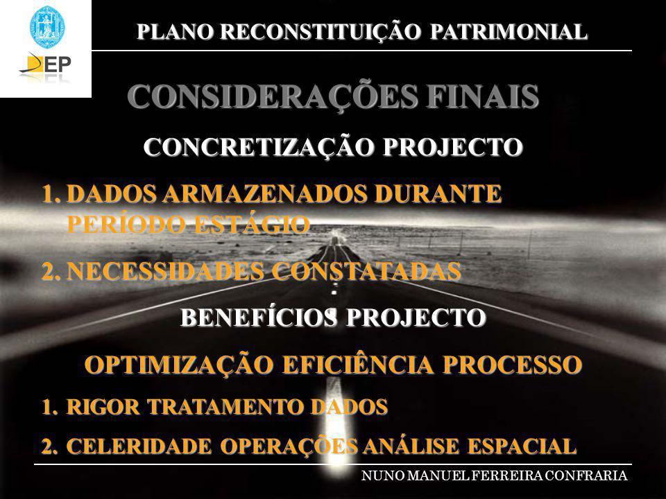 PLANO RECONSTITUIÇÃO PATRIMONIAL NUNO MANUEL FERREIRA CONFRARIA CONSIDERAÇÕES FINAIS CONCRETIZAÇÃO PROJECTO 1.DADOS ARMAZENADOS DURANTE PERÍODO ESTÁGI