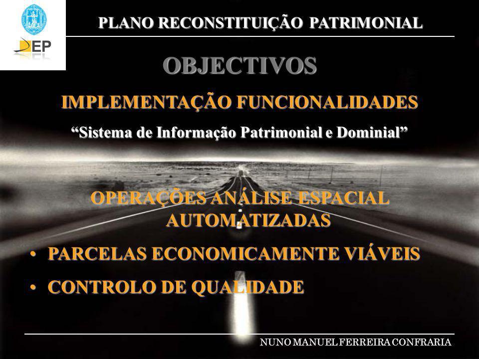 PLANO RECONSTITUIÇÃO PATRIMONIAL NUNO MANUEL FERREIRA CONFRARIA METODOLOGIA DESENVOLVIMENTO DE UMA APLICAÇÃO VBA- VISUAL BASIC FOR APPLICATIONS PARCELAS ECONOMICAMENTE VIÁVEIS PARCELAS ECONOMICAMENTE VIÁVEIS ÁREA ÁREA CUSTO M2 TERRENO CUSTO M2 TERRENO LOCALIZAÇÃO GEOGRÁFICA LOCALIZAÇÃO GEOGRÁFICA ZONAS URBANAS / RÚSTICAS ZONAS URBANAS / RÚSTICAS ZONAS NON AEDIFICANDI DA ESTRADA ZONAS NON AEDIFICANDI DA ESTRADA