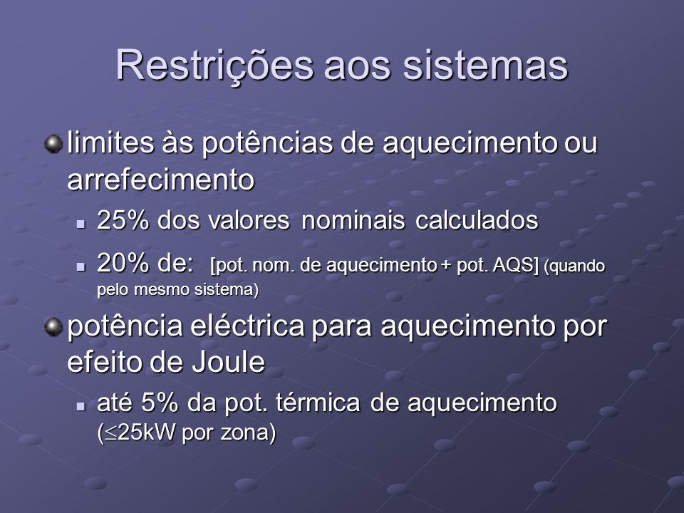 Restrições aos sistemas limites às potências de aquecimento ou arrefecimento 25% dos valores nominais calculados 25% dos valores nominais calculados 20% de: [pot.