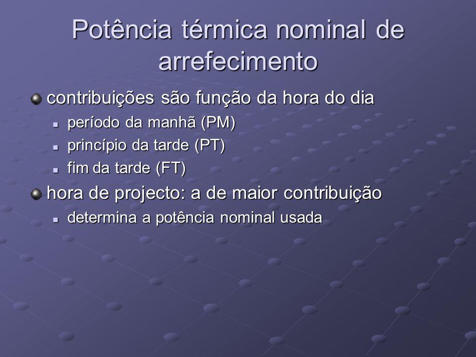 Potência térmica nominal de arrefecimento contribuições são função da hora do dia período da manhã (PM) período da manhã (PM) princípio da tarde (PT) princípio da tarde (PT) fim da tarde (FT) fim da tarde (FT) hora de projecto: a de maior contribuição determina a potência nominal usada determina a potência nominal usada