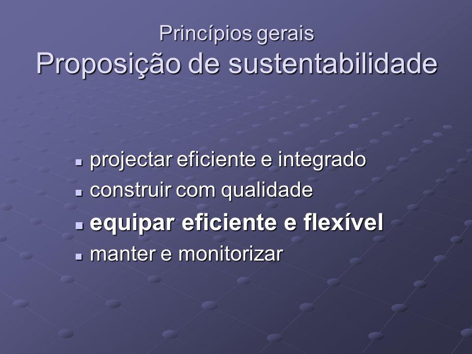 Princípios gerais Proposição de sustentabilidade projectar eficiente e integrado projectar eficiente e integrado construir com qualidade construir com qualidade equipar eficiente e flexível equipar eficiente e flexível manter e monitorizar manter e monitorizar