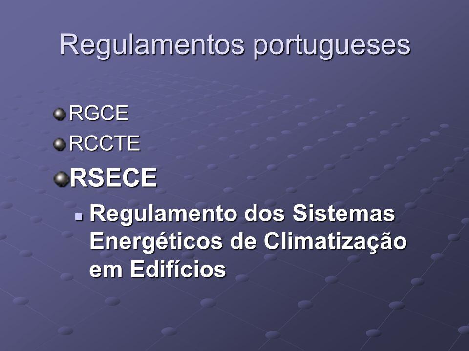 Regulamentos portugueses RGCERCCTERSECE Regulamento dos Sistemas Energéticos de Climatização em Edifícios Regulamento dos Sistemas Energéticos de Climatização em Edifícios