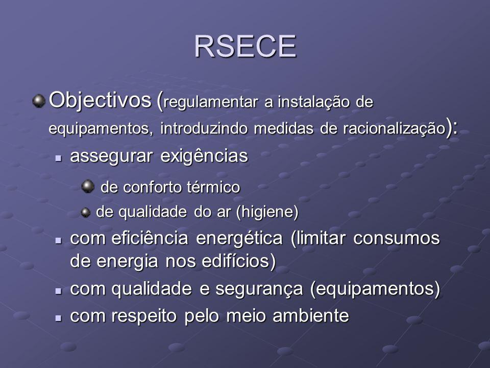 RSECE Objectivos ( regulamentar a instalação de equipamentos, introduzindo medidas de racionalização ): assegurar exigências assegurar exigências de conforto térmico de conforto térmico de qualidade do ar (higiene) de qualidade do ar (higiene) com eficiência energética (limitar consumos de energia nos edifícios) com eficiência energética (limitar consumos de energia nos edifícios) com qualidade e segurança (equipamentos) com qualidade e segurança (equipamentos) com respeito pelo meio ambiente com respeito pelo meio ambiente