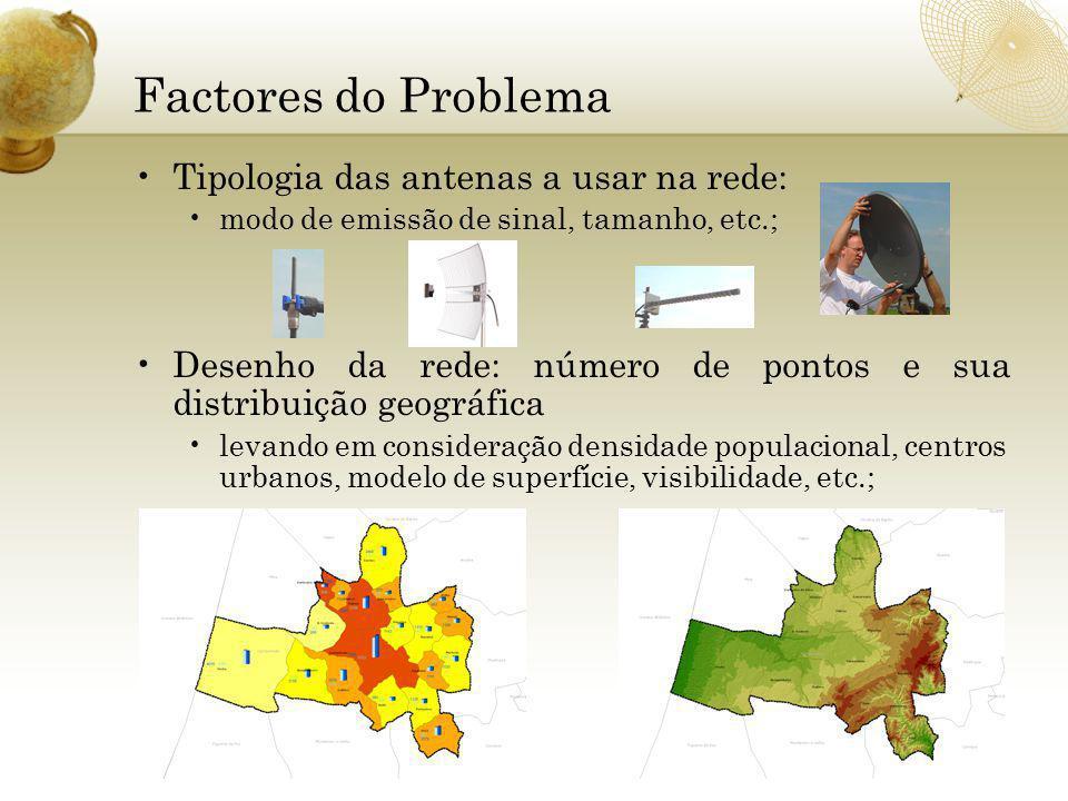 Factores do Problema Tipologia das antenas a usar na rede: modo de emissão de sinal, tamanho, etc.; Desenho da rede: número de pontos e sua distribuição geográfica levando em consideração densidade populacional, centros urbanos, modelo de superfície, visibilidade, etc.;