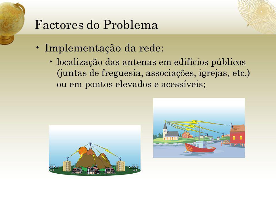 Factores do Problema Implementação da rede: localização das antenas em edifícios públicos (juntas de freguesia, associações, igrejas, etc.) ou em pontos elevados e acessíveis;