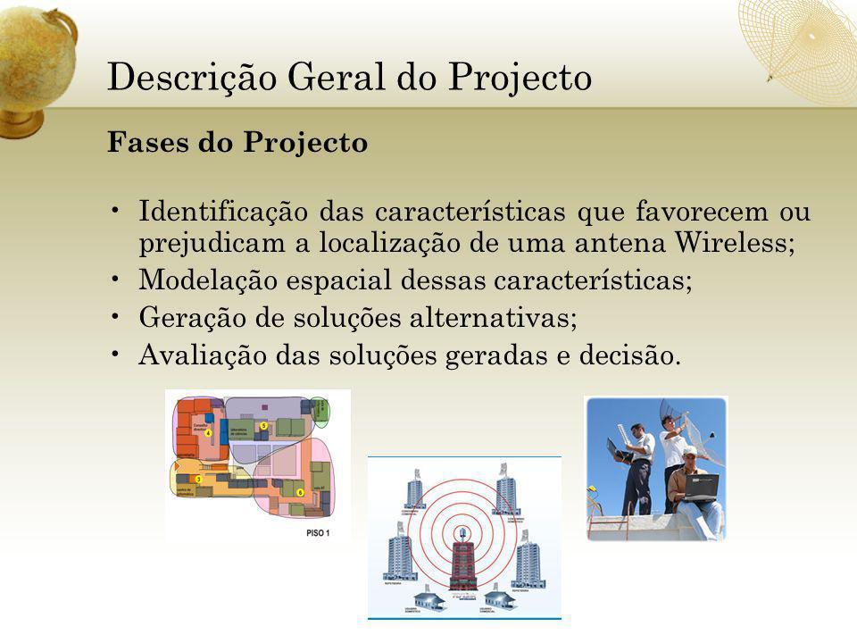Descrição Geral do Projecto Fases do Projecto Identificação das características que favorecem ou prejudicam a localização de uma antena Wireless; Modelação espacial dessas características; Geração de soluções alternativas; Avaliação das soluções geradas e decisão.