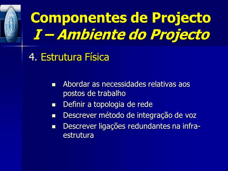 Componentes de Projecto I – Ambiente do Projecto 4. Estrutura Física Abordar as necessidades relativas aos postos de trabalho Abordar as necessidades