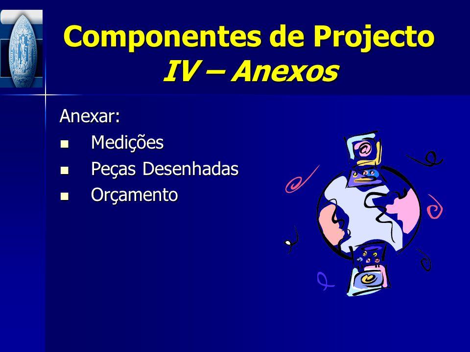Componentes de Projecto IV – Anexos Anexar: Medições Medições Peças Desenhadas Peças Desenhadas Orçamento Orçamento