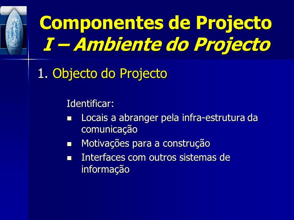 Componentes de Projecto I – Ambiente do Projecto 1. Objecto do Projecto Identificar: Locais a abranger pela infra-estrutura da comunicação Locais a ab