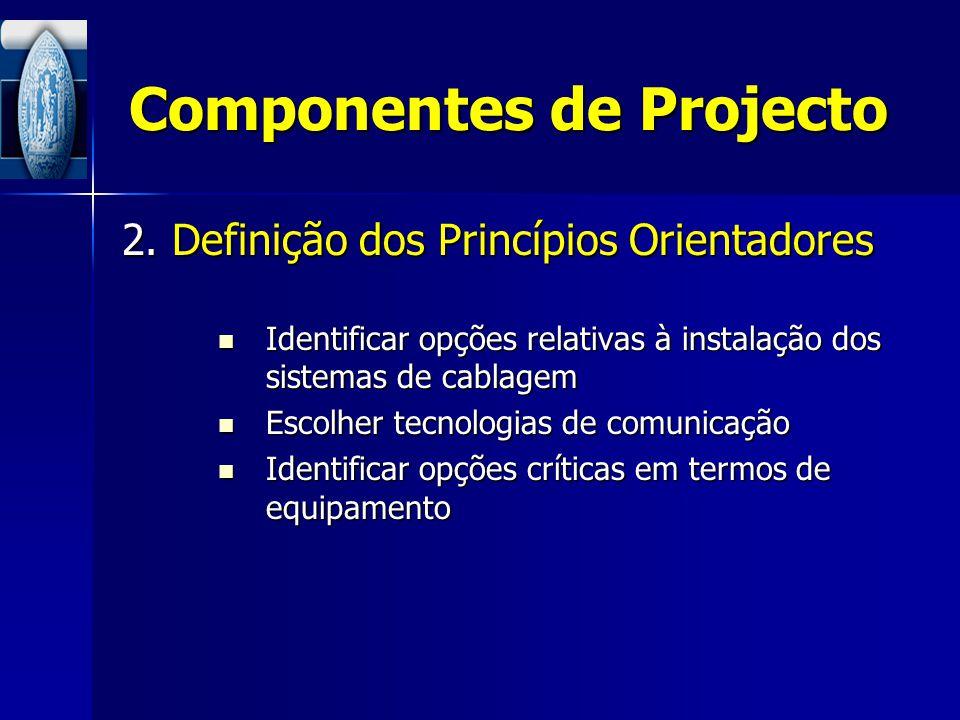 Componentes de Projecto 2. Definição dos Princípios Orientadores Identificar opções relativas à instalação dos sistemas de cablagem Identificar opções