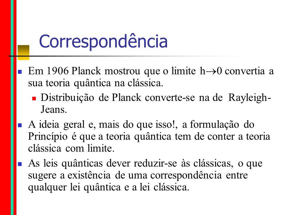 Correspondência Em 1906 Planck mostrou que o limite h 0 convertia a sua teoria quântica na clássica.
