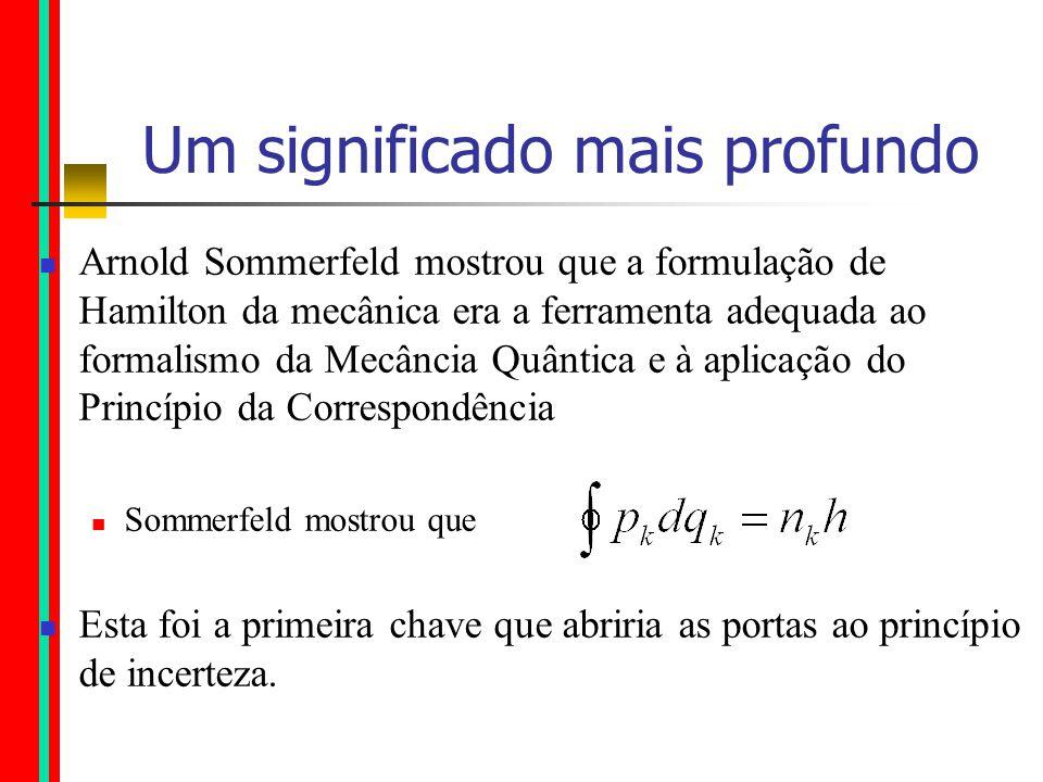 Um significado mais profundo Arnold Sommerfeld mostrou que a formulação de Hamilton da mecânica era a ferramenta adequada ao formalismo da Mecância Quântica e à aplicação do Princípio da Correspondência Sommerfeld mostrou que Esta foi a primeira chave que abriria as portas ao princípio de incerteza.