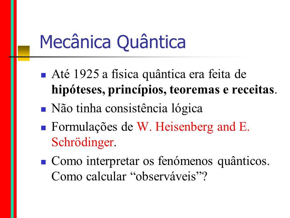 Mecânica Quântica Até 1925 a física quântica era feita de hipóteses, princípios, teoremas e receitas.