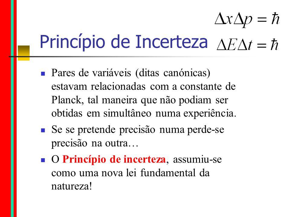 Princípio de Incerteza Pares de variáveis (ditas canónicas) estavam relacionadas com a constante de Planck, tal maneira que não podiam ser obtidas em simultâneo numa experiência.