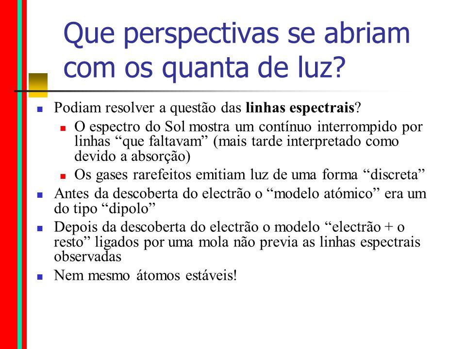 Que perspectivas se abriam com os quanta de luz.Podiam resolver a questão das linhas espectrais.
