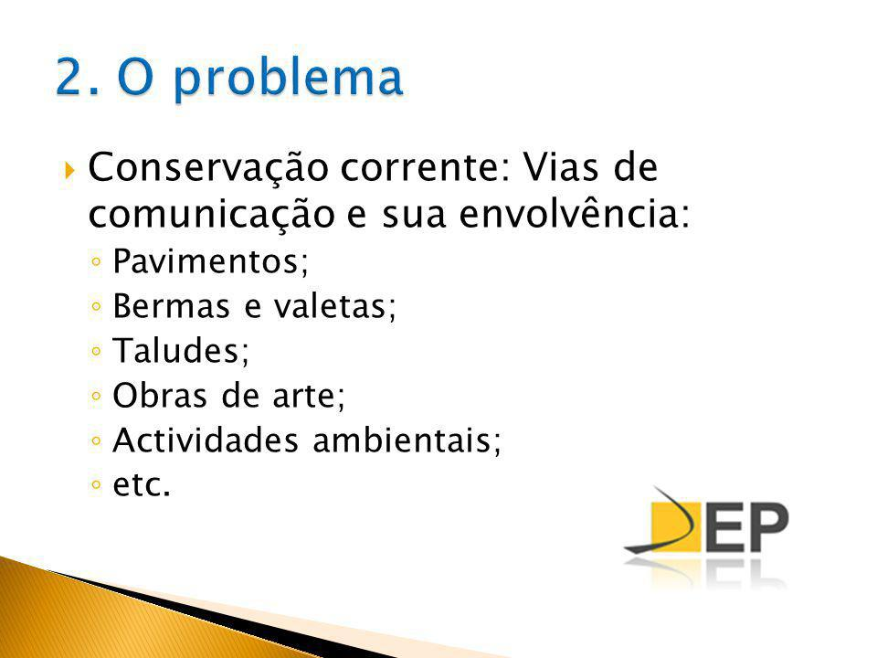 Conservação corrente: Vias de comunicação e sua envolvência: Pavimentos; Bermas e valetas; Taludes; Obras de arte; Actividades ambientais; etc.