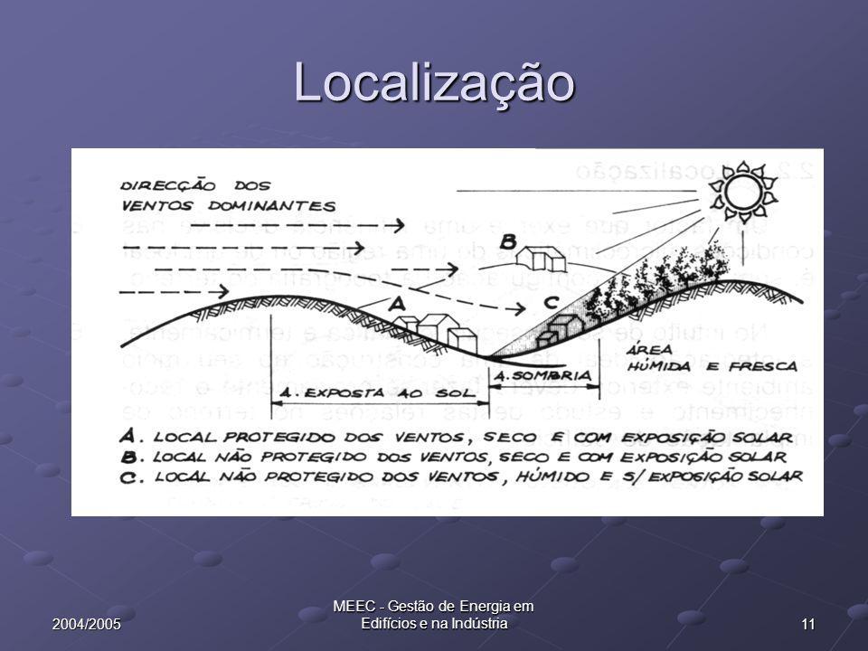 112004/2005 MEEC - Gestão de Energia em Edifícios e na Indústria Localização