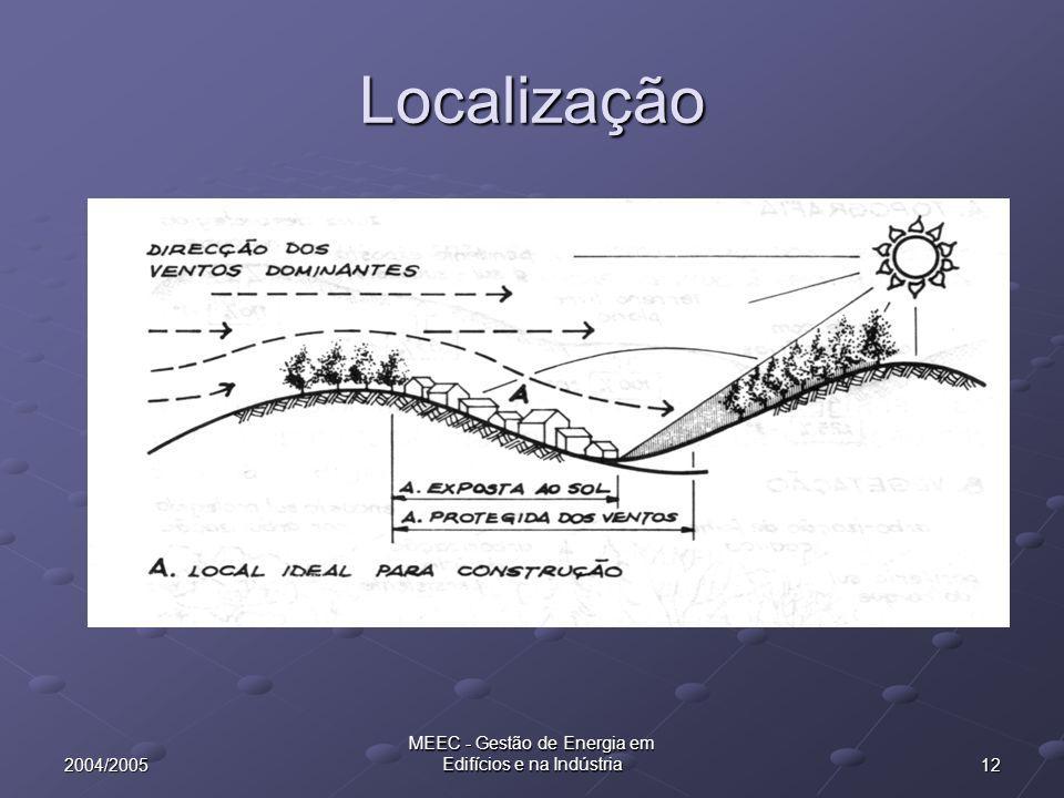 122004/2005 MEEC - Gestão de Energia em Edifícios e na Indústria Localização
