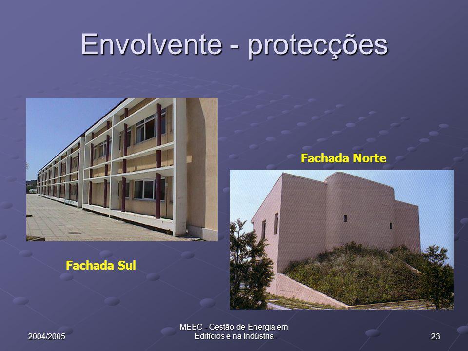 232004/2005 MEEC - Gestão de Energia em Edifícios e na Indústria Envolvente - protecções Fachada Sul Fachada Norte