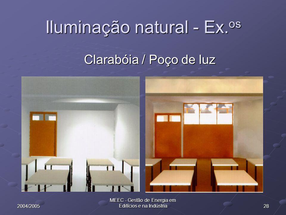 282004/2005 MEEC - Gestão de Energia em Edifícios e na Indústria Iluminação natural - Ex. os Clarabóia / Poço de luz