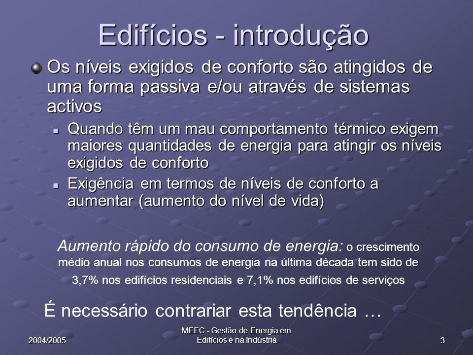 32004/2005 MEEC - Gestão de Energia em Edifícios e na Indústria Edifícios - introdução Os níveis exigidos de conforto são atingidos de uma forma passi