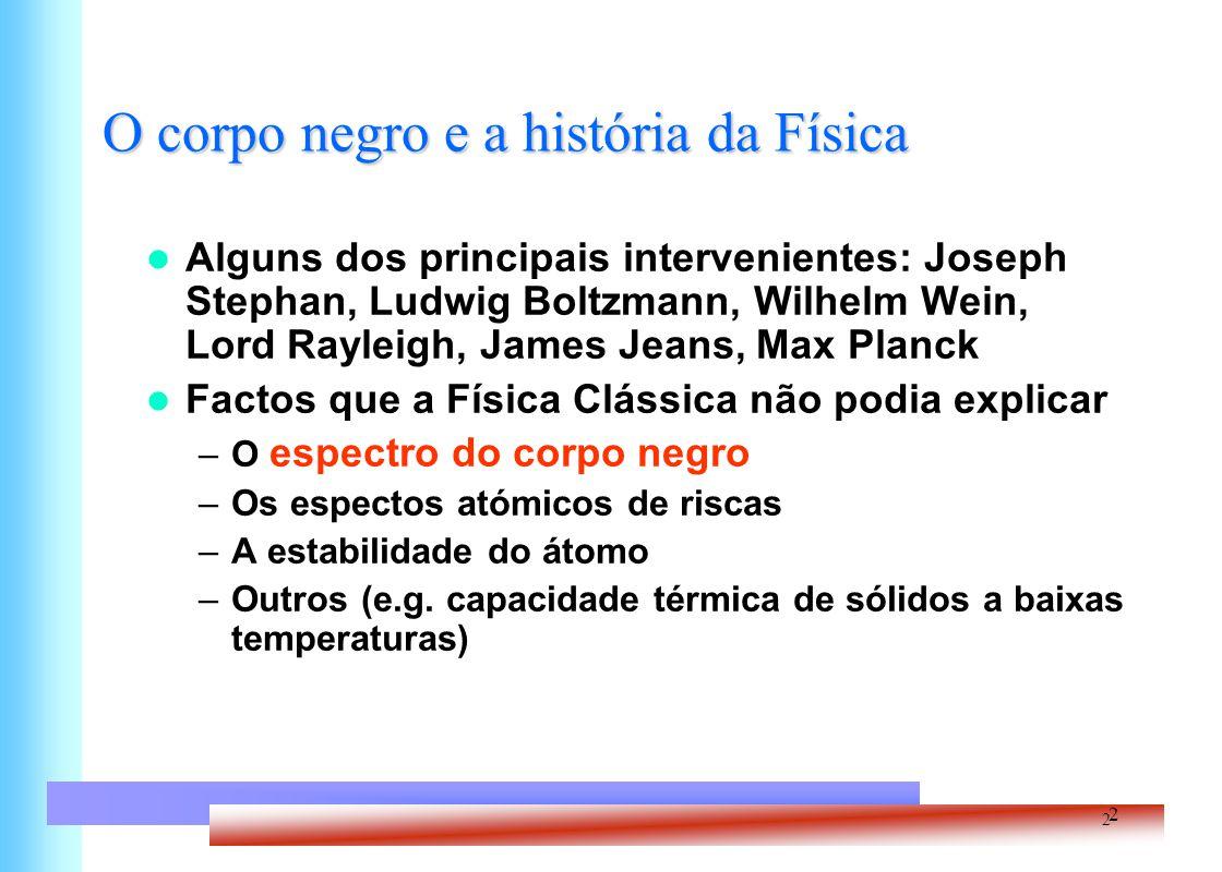 2 O corpo negro e a história da Física 2 Alguns dos principais intervenientes: Joseph Stephan, Ludwig Boltzmann, Wilhelm Wein, Lord Rayleigh, James Je