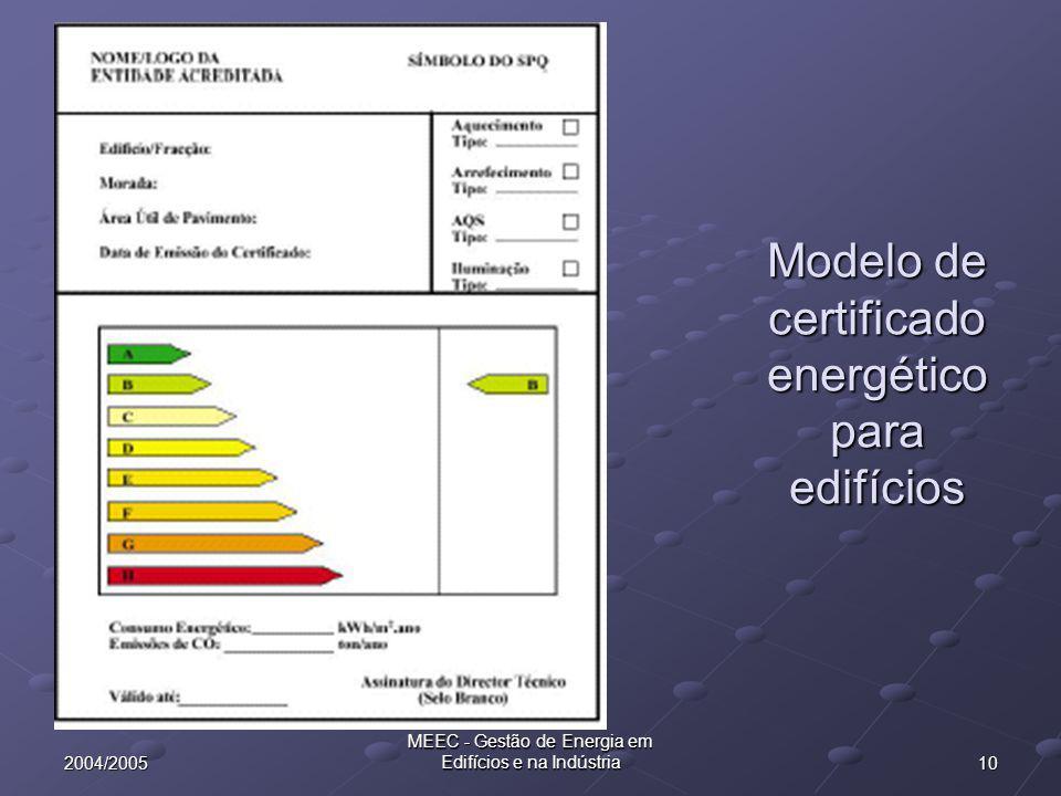 102004/2005 MEEC - Gestão de Energia em Edifícios e na Indústria Modelo de certificado energético para edifícios