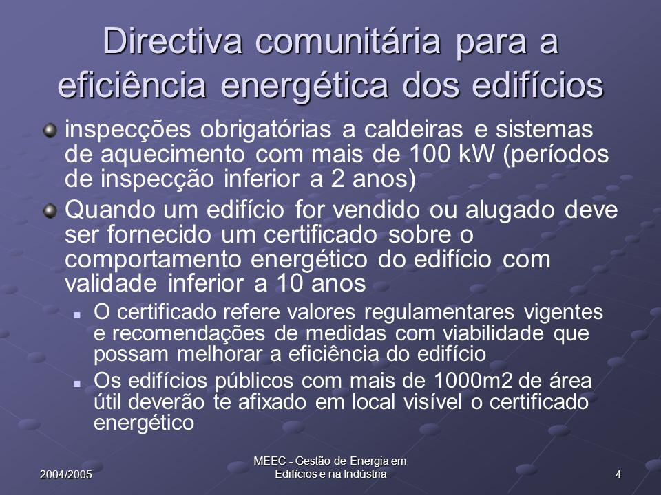 42004/2005 MEEC - Gestão de Energia em Edifícios e na Indústria Directiva comunitária para a eficiência energética dos edifícios inspecções obrigatórias a caldeiras e sistemas de aquecimento com mais de 100 kW (períodos de inspecção inferior a 2 anos) Quando um edifício for vendido ou alugado deve ser fornecido um certificado sobre o comportamento energético do edifício com validade inferior a 10 anos O certificado refere valores regulamentares vigentes e recomendações de medidas com viabilidade que possam melhorar a eficiência do edifício Os edifícios públicos com mais de 1000m2 de área útil deverão te afixado em local visível o certificado energético