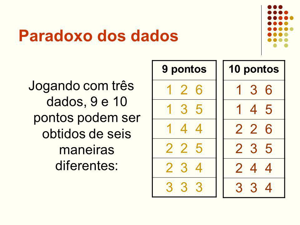 Paradoxo dos dados Jogando com três dados, 9 e 10 pontos podem ser obtidos de seis maneiras diferentes: 9 pontos 1 2 6 1 3 5 1 4 4 2 2 5 2 3 4 3 3 3 1