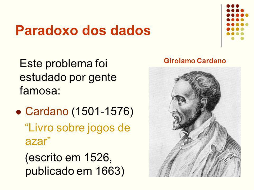 Paradoxo dos dados Cardano (1501-1576) Livro sobre jogos de azar (escrito em 1526, publicado em 1663) Este problema foi estudado por gente famosa: Gir