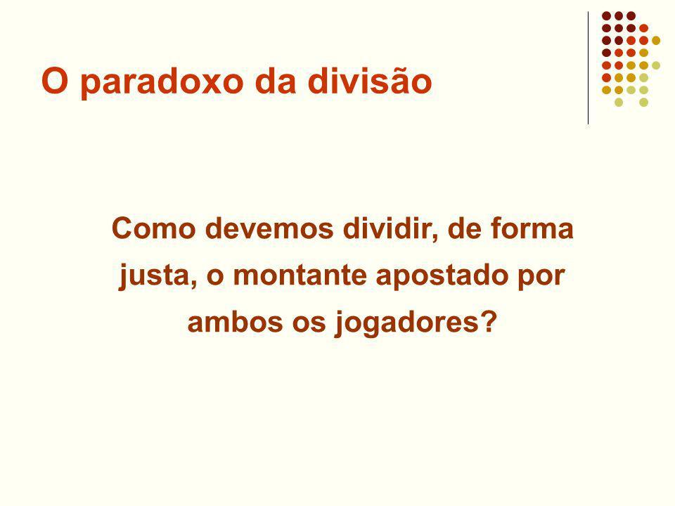 O paradoxo da divisão Como devemos dividir, de forma justa, o montante apostado por ambos os jogadores?