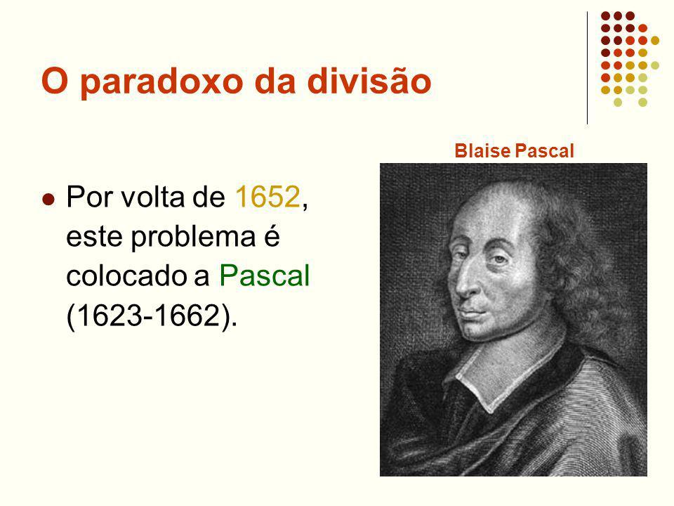 O paradoxo da divisão Por volta de 1652, este problema é colocado a Pascal (1623-1662). Blaise Pascal