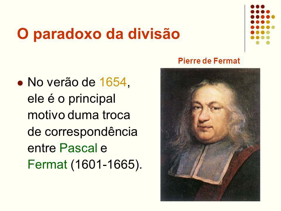 O paradoxo da divisão No verão de 1654, ele é o principal motivo duma troca de correspondência entre Pascal e Fermat (1601-1665). Pierre de Fermat