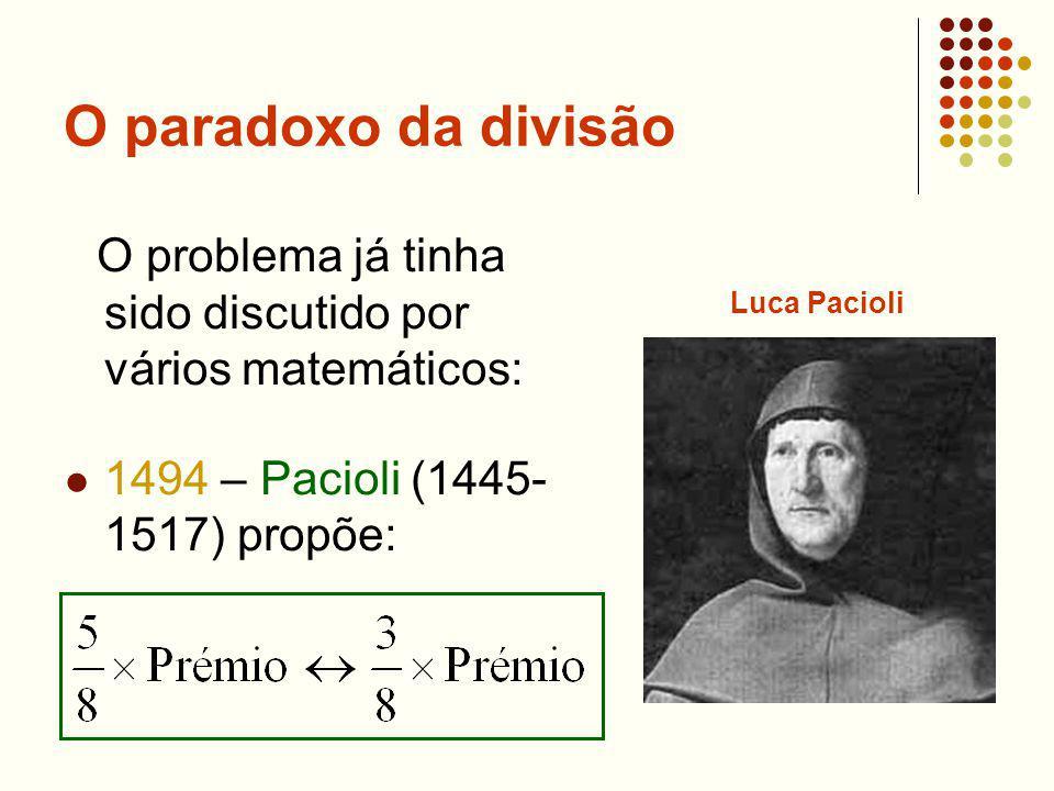 O paradoxo da divisão O problema já tinha sido discutido por vários matemáticos: 1494 – Pacioli (1445- 1517) propõe: Luca Pacioli