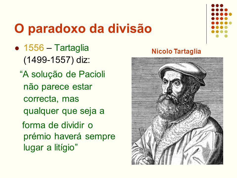 O paradoxo da divisão 1556 – Tartaglia (1499-1557) diz: A solução de Pacioli não parece estar correcta, mas qualquer que seja a forma de dividir o pré