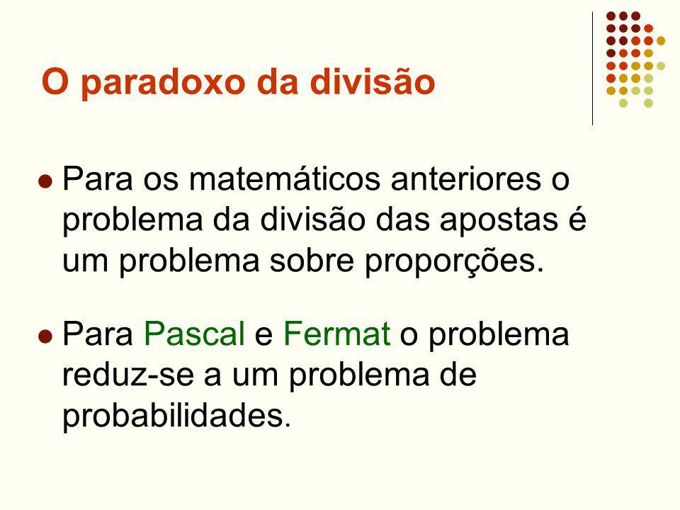 O paradoxo da divisão Para os matemáticos anteriores o problema da divisão das apostas é um problema sobre proporções. Para Pascal e Fermat o problema