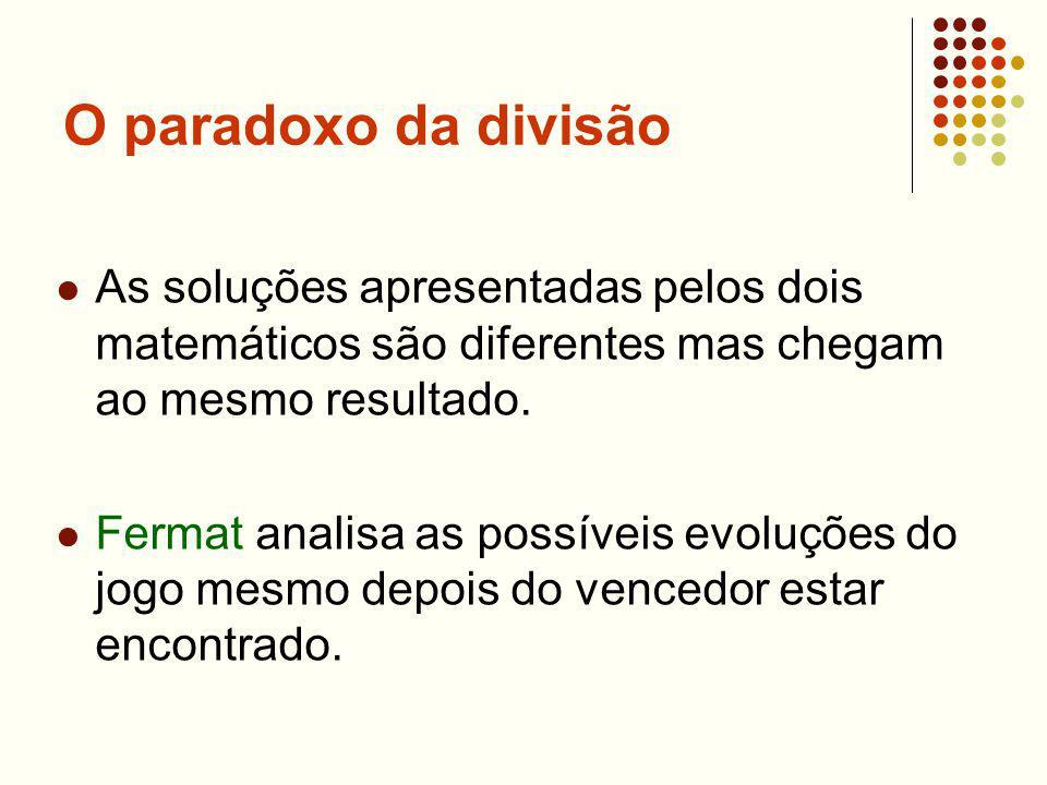 O paradoxo da divisão As soluções apresentadas pelos dois matemáticos são diferentes mas chegam ao mesmo resultado. Fermat analisa as possíveis evoluç