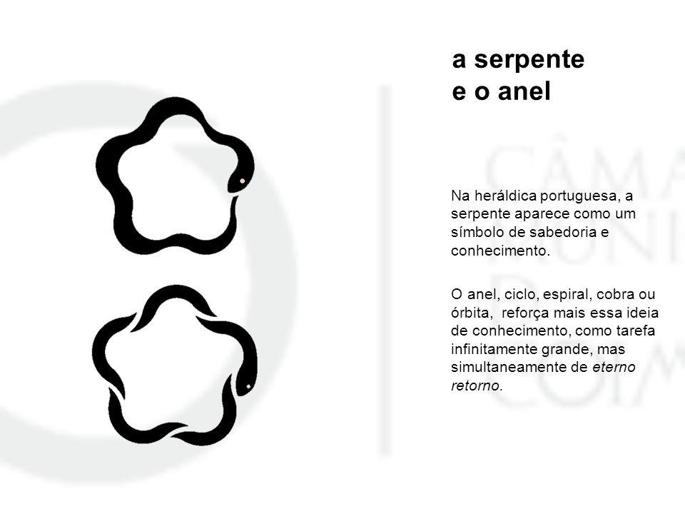 a serpente e o anel Na heráldica portuguesa, a serpente aparece como um símbolo de sabedoria e conhecimento. O anel, ciclo, espiral, cobra ou órbita,