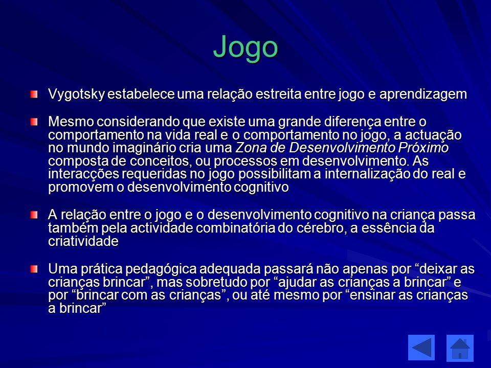 Jogo Vygotsky estabelece uma relação estreita entre jogo e aprendizagem Mesmo considerando que existe uma grande diferença entre o comportamento na vi