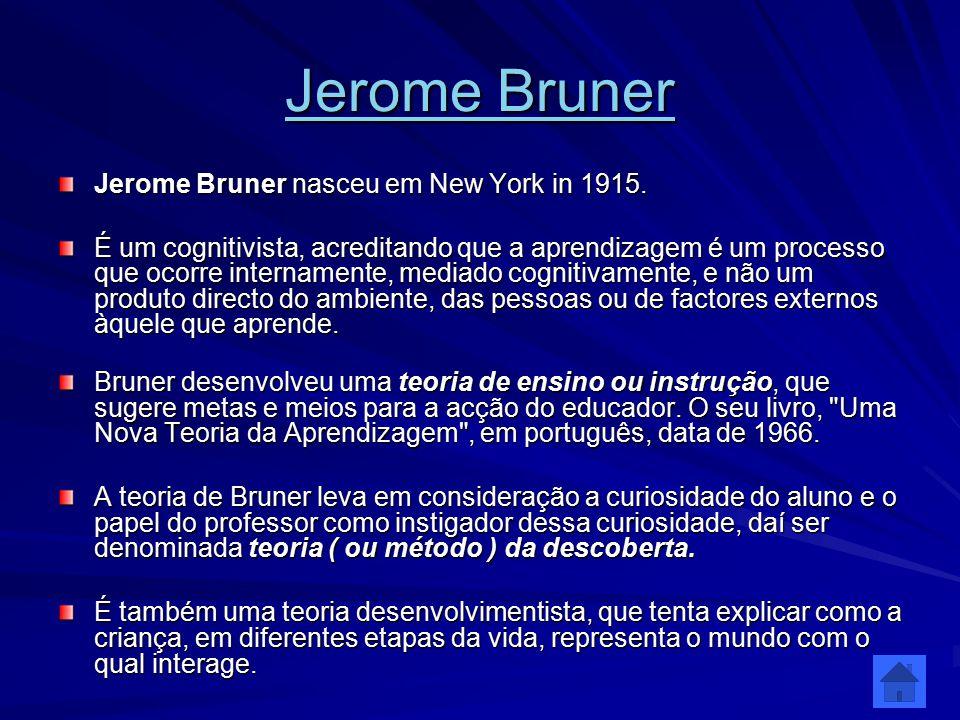 Jerome Bruner Jerome Bruner Jerome Bruner nasceu em New York in 1915. É um cognitivista, acreditando que a aprendizagem é um processo que ocorre inter