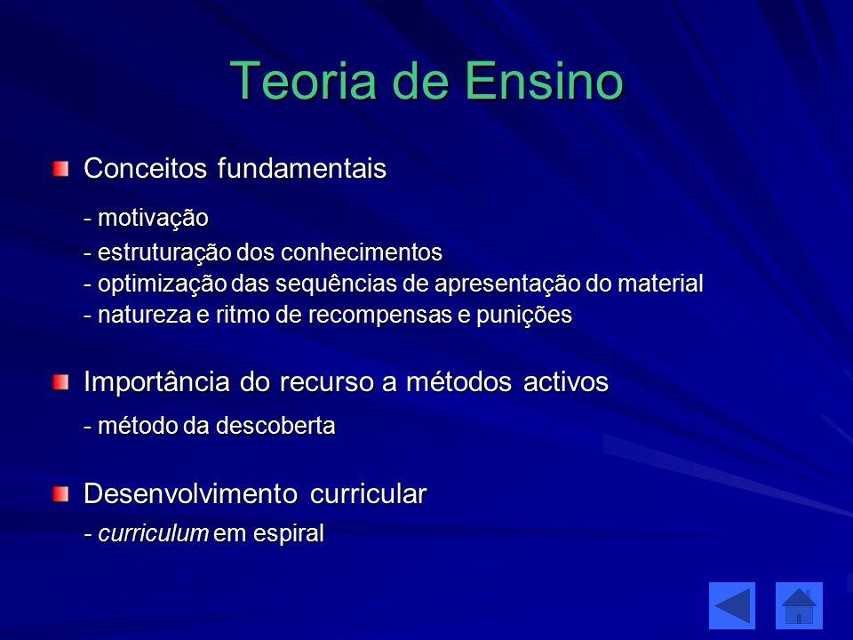 Teoria de Ensino Conceitos fundamentais - motivação - estruturação dos conhecimentos - optimização das sequências de apresentação do material - nature